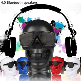 Discount plastic portable bluetooth speaker nfc - NEW Skull Shape Stereo Bluetooth Speaker LED NFC Super Heavy Bass Outdoor Portable with Retail Box
