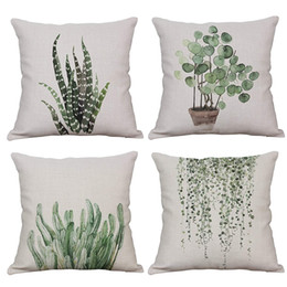 $enCountryForm.capitalKeyWord NZ - Green Plant Decorative Throw Pillow Case Cotton Linen Square Cushion Cover Outdoor Sofa Home Pillow Covers 18x18 Inch