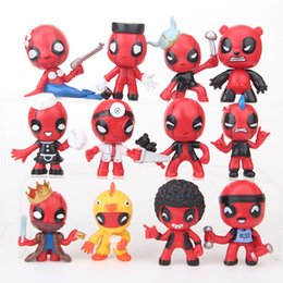 wholesale plastic figures Australia - 12 Style Deadpool 2 Plastic Doll toys 2018 New kids Q Edition 6cm avenger Cartoon pirate king Duck bear Figure Toy B