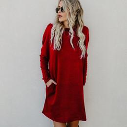 b090ec3a1d06 Winter Casual Wine Red Knitted Dress Women Pockets Elegant Party Mini Dress  Long Sleeve Ladies Dresses