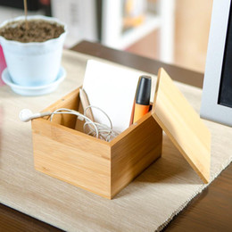 1PCS Small Bamboo Storage Box With Cover Modern Style Natural Wood Desk  Organizer Table Storage Box For Sundries Candies Nuts