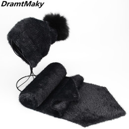 f66691a3173 New Artificial mink cashmere Women Child Winter hat scarf set Real Fox Fur  Pom Poms Ball Cap Keep Warm Beanies Skullies gorro