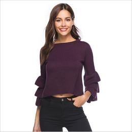 Unique Computers UK - Temperamental Women Knitwear 2018 Unique Chic Simple Color Crop Sweater Fashion Popular European Style Seven Sleeve Pullover Top