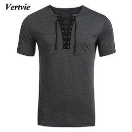Boy cross t shirt online shopping - VERTVIE Brand New Criss Cross T shirt Men Boy Summer Short Sleeve Lace Up Tee Tops Male Casual Holiday V neck Clothing