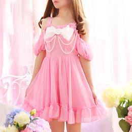 024c33641f0 Pearl Beading Off shoulder Cute Bowknot Straps Women Summer Sweet Mini  Dresses Lolita Girl Japan Princess Kawaii Chiffon dress