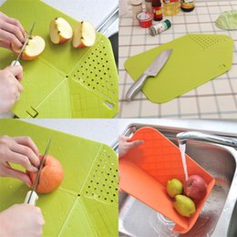chop boards NZ - Plastic Chopping Block Multi Function Creative Portable Small Pad Mat Kitchen Tool Foldable Board Free Shipping 4 9rh V