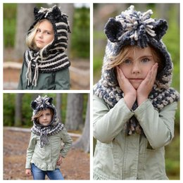 Crochet Baby Flats NZ - 2 Colors Lovely Unicorn Hats And Scarf Set Windproof Hats For Kids Crochet Headgear Soft Warm Hat Baby Winter Beanies CCA10531 10pcs