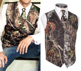Ingrosso 2018 Personalizza New Handsome Airtailors Camo Maglie da sposa Groom Vest Tronco d'albero Foglie Camouflage Slim Fit Mens Gilet Set da 2 pezzi (Vest + Tie)