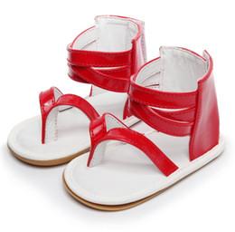 Beautiful Baby Shoes Australia - Fashion solid PU Flat Roman Sandals Beautiful Baby Girls sandals Princess first walker summer shoes Non-Slip Newborn