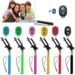 Selfie remote Shutter online shopping - Extendable Handheld Selfie Stick Monopod Bluetooth Remote Shutter for iPhone Samsung with Retail Box High Quality
