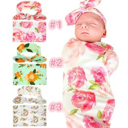 Wholesale Retail Newborn Baby Floral Receiving Blankets Swaddling Cotton Blankets with Headband Photography Props cm