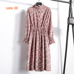 pink corduroy dress 2019 - BGTEEVER Corduroy Soft Floral Print Women Autumn Winter Dress Stand Collar Female Party Dresses Elastic Waist Beach Vest