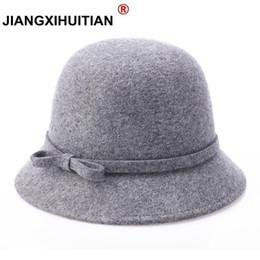 Fallen Hats Australia - Fall Winter Women's Fedora Caps Lady Wide Brim 100%Wool Felt Bowknot Vintage Sun Hat For Women Wholesale