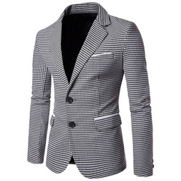 Wholesale NIBESSER Casual Plaid Print Men Blazer Fashion Long Sleeve Wedding Dress Coat Autumn White Social Business Mens Blazer Jacket