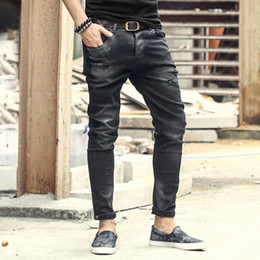 new modern man black ripped jeans NZ - Fashion Vintage Mens Ripped Jeans Pants Slim Fit Distressed Hip Hop Denim pants 2017 new spring men black stretch jeans pants