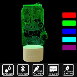 Light Cans Speakers Australia - TF card USB rechargeable Bluetooth speakers Desktop Lamp smoking cans 3D music lights LED night lights home lighting