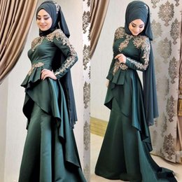 Gold Lace Peplum Dress Australia - Latest 2019 Muslim Prom Dresses Lone Sleeve Gold Lace Applique Ruffles Peplum Mermaid Evening Gowns Satin Sweep Train Formal Dress