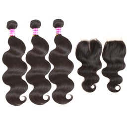 cheap virgin hair lace closures 2019 - 100% brazilian virgin hair body wave weft with 4x4 lace closure 3 bundles weave and closure cheap brazilian human hair w