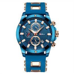 China BIDEN Top Brand Luxury Blue Theme Quartz Watch Men Waterproof Silicone strap Sport  Wristwatch Fashion Men Watch Clock supplier top brand waterproof watches men suppliers