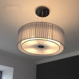 $enCountryForm.capitalKeyWord NZ - Modern Round Pendant Light For Bedroom Living Room Fabric Lamp Shade Hanging Pendant Lamp Light Fixtures Lustres