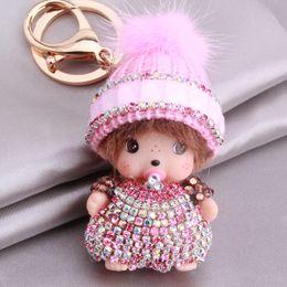 $enCountryForm.capitalKeyWord NZ - 1pc Little Girl Key Chains Bag Hanging Rhinestone & Metal Keychains Key Ring For Bags Phone Decoration Jewelry Gift 364505