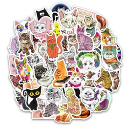 $enCountryForm.capitalKeyWord NZ - 50 Pcs lot Cute Cat Style Kitten Stickers For Computer Pad Phone Laptop Skateboard Fridge Bicycle Pvc Waterproof Decal Sticker