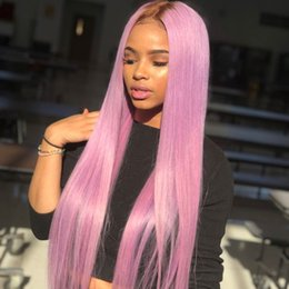 PurPle ombre hair black women online shopping - T4 purple Ombre Lace Front Human Hair Wigs For Black Women Cheap Two Tone Straight Peruvian Virgin Hair Lace Front Wigs