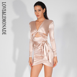 Love Lemonade Deep V-Neck Cut Out Shoulder Pad Slim-Fit Party Dress LM81565  NUDE f3289c149