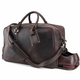 fbbd83518113 Luxury Vintage Cow Leather Mens Travel Duffle Large European and American  Style Luggage Bags Brown Travel Bag Shoulder Bag Tote