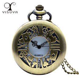 Vintage Watch Necklace Wholesale Canada - Fashion Women Dress Pocket Watch Alice In Wonderland Rabbit Flower Full Hunter with Necklace Chain Vintage Style Best Watch Gift