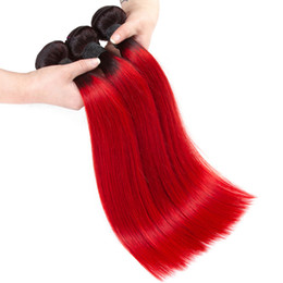 $enCountryForm.capitalKeyWord Australia - Two Tone 1B Red Straight Human Hair Weave 3 4 Bundles Wholesale Colored Brazilian Ombre Red Virgin Human Hair Extension Deals