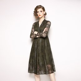 d0bd9ca0e91 Sexy Cocktail Dresses Net Yarn A Line Dress V Neck Long Sleeve Hollow Out  Vintage Elegant Prom Dress