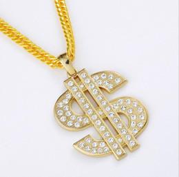 $enCountryForm.capitalKeyWord NZ - diamond silver Gold Color $ Money Symbol Pendant Hip Hop Bling Crystal Dollar Sign 18k Gold Link Chain Pendant Necklace Men Women Jewelry