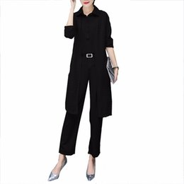 China 2018 Spring Summer 3 Pieces Fashion Casual Women Sets New Solid Shirt Hollow out Long Cardigan Coat L and Pant Slim Lady Suits cheap ladies button cardigans suppliers