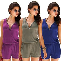 d6da9354229c Plus Size 4XL Sexy Sleeveless Bodysuit Women Jumpsuit Shorts Romper Summer  V-neck Zipper Pockets Playsuit Fashion Beach Overalls