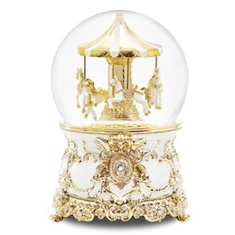 Chinese  Snow Globe Rotating Snowflake Music Box Crystal Ball Carousel Send Girl Children Birthday Gift Valentine 's Day Gift manufacturers