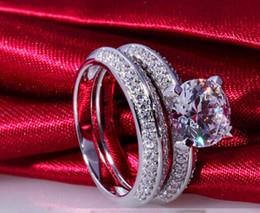 $enCountryForm.capitalKeyWord NZ - 2CT SONA Round Prong Simulate Diamond Ring Engagement Set Women Sterling Silver Jewelry 18K White Gold Plaetd Wedding Ring Set