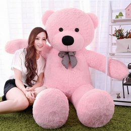 "Chinese  New arrival 6.3 FEET TEDDY BEAR STUFFED LIGHT BROWN GIANT JUMBO 72"" 160cm birthday gift purple 5 colour choose free shipping OTH749 manufacturers"