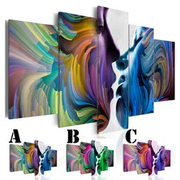Multi Set Canvas Prints Australia - Wall Art Picture Printed Oil Painting on Canvas No Frame Multi-picture 5pcs set Home Decor Extra Mirror Border Colorful Couple Kiss