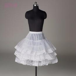 Discount crinoline line short - White Black 2018 Short Wedding Petticoat With Lace Edge for Prom Women A Line Underskirt Bridal Crinoline Bridal Accesso
