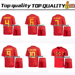 96d1c88ef 2018 world cup Belgium home Soccer Jersey suit 2018 Belgique soccer shirt  kit  10 E.HAZARD  7 DE BRUYNE Football uniforms jersey+shorts