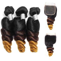 3 bundles con chiusura peruviana sciolto capelli onda T1b / 4/27 malese trama dei capelli vergini ombre indiani brasiliani capelli umani estensioni ricci sciolti