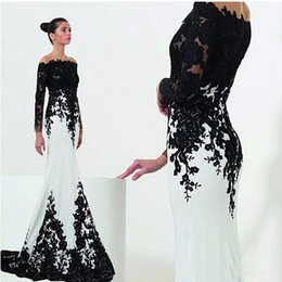$enCountryForm.capitalKeyWord NZ - New White and Black Evening Dresses Sleeves Mermaid Style Sweep Train Lace Off the Shoulder Formal Gowns Dresses Custom Made