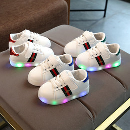 Wholesale Children LED embroidery bee Shoes Kids Casual Luminescence Shoes Colorful Glowing Baby Boys Girls Sneakers USB Charging Light up Shoes C5224