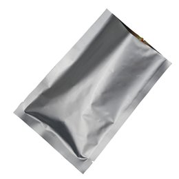 Silver Coffee Package UK - 50Pcs Open Top Pure Aluminum Foil Packaging Bags Vacuum Seal Silver Food Coffee Tea Storage Pouches Mylar Foil Seal Party Bags