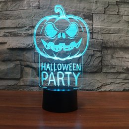 Batteries Usb Mouse Australia - Pumpkin Halloween Party lamp 3D Optical Illusion Lamp Night Light DC 5V USB Powered AA Battery Wholesale Dropshipping