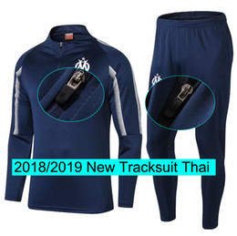 soccer outfits 2019 - Marseille Tracksuit Jogging Training Suit Men 18 19 New Warm up suit Soccer Tops Pants Set Outfits Football Kits cheap s