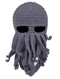 Inverno Quente Do Dia Das Bruxas Octopus Lã De Malha Rosto Chapéu Preto Partido Do Evento De Malha Cap Lula Cap Chapéu Legal