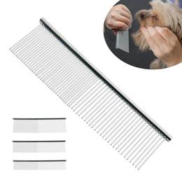 Venta al por mayor de S / M / L Pet Double Row Comb Acero inoxidable Rake para Puppy Dog Cat Pelo largo Shedding cepillo de aseo 50pcs AAA958