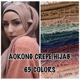 $enCountryForm.capitalKeyWord Australia - 10pcs lot women maxi hijabs shawls oversize islamic head wraps soft long muslim frayed crepe premium cotton plain hijab scarf Y18102010